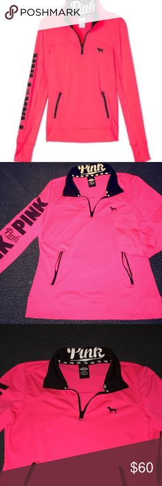 PINK Ultimate Out of stock Rare color & awesome condition. Worn one time and no signs of wear as shown in pictures. Size M. Price pretty firm because i paid a lot for it, and this particular one is HTF. Neon pink/orange with logo. Has two zipper pockets on the front, also a hole for your thumb on each arm. Great to workout in or just to be casual. Stretchy but fitted material. PINK Victoria's Secret Tops