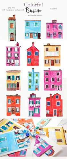 Watercolor houses clipart, cute burano illustration, colorful italy clipart, digital png houses - creative products for DIY - House Funny, Cute House, House Illustration, Watercolor Illustration, Italy Illustration, Watercolor Cat, Watercolor Paintings, Watercolor Artists, Abstract Paintings