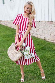 The Dorris Striped Modest Midi Dress - NeeSee's Dresses Vertical Striped Dress, Vertical Stripes, Good Day Sunshine, Button Skirt, Flowy Skirt, Modest Dresses, Short Sleeve Dresses, Elegant, Stylish
