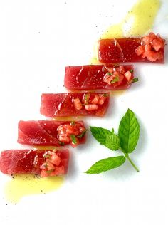 Tuna Crudo with Pickled Watermelon Recipe - Fresh from the ocean, sushi grade tuna served simply with a dollop of quick pickled watermelon, red onion and mint.  Unbelievable! - theoptimalistkithen.com