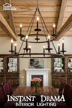Dim the lights in spooky style with these dramatic interior lighting fixtures that are sure to set the stage for your Halloween party. Foyer Lighting, Rustic Lighting, Interior Lighting, Modern Rustic Homes, Timber Frame Homes, Lodge Style, House Inside, Kitchen Design, Kitchen Ideas