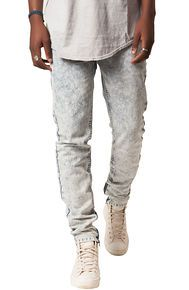 Elwood The Acid Wash Ankle Zip Jeans in Blue Acid