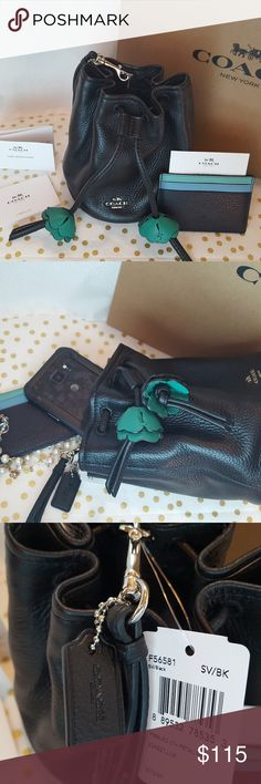 Coach Petal Bag and Card Holder NWT Buttery soft pebble leather makes this the perfect small bag for a night out or to carry inside a work or school bag. Coach Bags Clutches & Wristlets