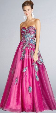 Pink - Glittering Peacock Gown
