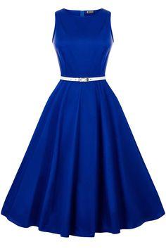 Regal Royal Blue Hepburn Dress