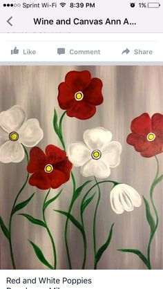Acrylic Painting Flowers, Easy Canvas Painting, Simple Acrylic Paintings, Fabric Painting, Diy Painting, Painting & Drawing, Canvas Art, Flower Canvas, Flower Art