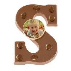 Schokoladenbuchstabe mit Foto