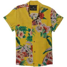 Maison Scotch Silk Hawaii Print Shirt In Yellow ($178) ❤ liked on Polyvore featuring tops, blouses, shirts, jackets, women, slim fit shirts, long shirts, yellow blouse, long sleeve blouse and silk shirt