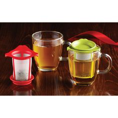 The Container Store Mug & Tea Infuser makes it easy not to have a tea bag dripping all over your desktop.