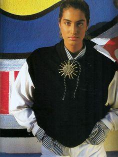 "US ELLE April 1990 ""Getting the Rap"" Model: Yasmeen Ghauri Photographer: Gilles Bensimon Stylist: Fanny Pagniez"