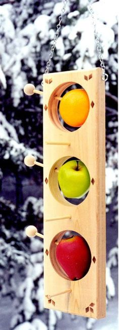 This all-cedar bird feeder allows you to feed either suet (in the winter) or fruit (in the summer) to the birds It perfectly fits a round, seed-covered suet ball, or an orange, apple or grapefruit. You will delight the many fruit-loving birds like orioles Bird House Feeder, Diy Bird Feeder, Garden Projects, Wood Projects, Projects To Try, Homemade Bird Feeders, Bird Houses Painted, Painted Birdhouses, Bird Boxes