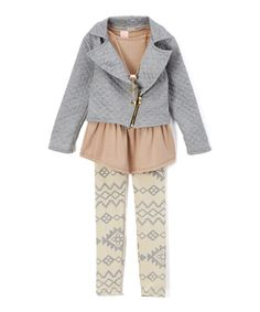 Loving this Just Kids Gray Geometric Jacket & Leggings Set - Toddler & Girls on #zulily! #zulilyfinds