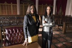 Viola Davis and Kerry Washington behind the scenes of the Scandal/HTGAWM crossover 413 of HTGAWM