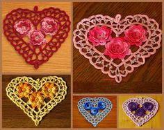 Cross Partners in Promotion Team: Irish Crochet Heart with 3D Roses - Handmade Made-To-Order - You Choose Color - Romantic Lace Heart by RSS Designs In Fiber