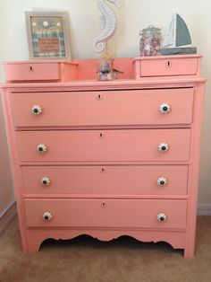 Love, Love, Love this pop of color in the bedroom! Painted in Flamingo. #Flamingo