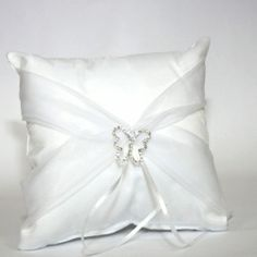 £15.49 Butterfly Satin Ring Pillow with organza sash - White or Ivory