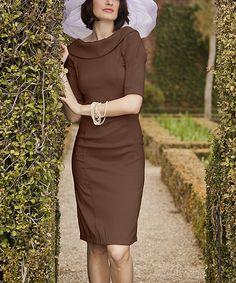Brown Royal Wedding Fold-Over Collar Dress
