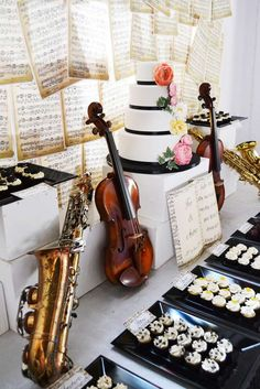 Music themed wedding party decorations! See more party planning ideas at CatchMyParty.com!