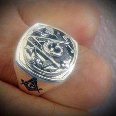Sterling Silver Masonic Ring with Single Monogram ~ Cigar Band Style 037 Masonic Art, Masonic Jewelry, Masonic Symbols, Be Light, Light Ring, Mens Silver Jewelry, Silver Rings, Masons Masonry, Cigar Band