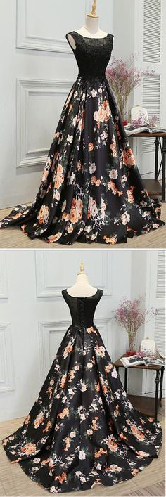 Stylish A Line Long Floral Printed Prom Dress,Formal Evening Dress #floral #printed #black #lace #aline #prom #okdresses
