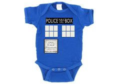 Doctor Who Tardis Onesie and Toddler/Youth T Shirt. Very cool!