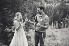 Tara and Christopher celebrated with Dom Perignon & craft beer on the Gore Creek Trail in the mountains. See their beautiful photos & video by Forget Me Not Media @intimateweddings.com #elopements