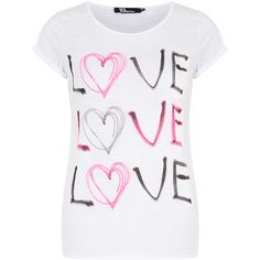 Dorothy Perkins 19Nineteen Neon hearts t-shirt (16 AUD) ❤ liked on Polyvore featuring tops, t-shirts, shirts, 10. tops., blusas, white, heart t shirt, heart shirt, polyester t shirts and tee-shirt