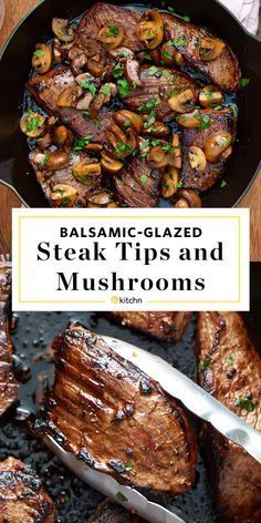Quick & easy balsamic glazed & marinated steak tips and mushrooms recipe. The marinade for this simple one pan weeknight dinner is SO GOOD. Great for families or just two. Healthy, low carb meals like this are family favorites. You'll need sirloin steak t Steak And Mushrooms, Stuffed Mushrooms, Stuffed Peppers, Wild Mushrooms, Stuffed Shells, Low Carb Recipes, Cooking Recipes, Healthy Steak Recipes, Steak Recipes