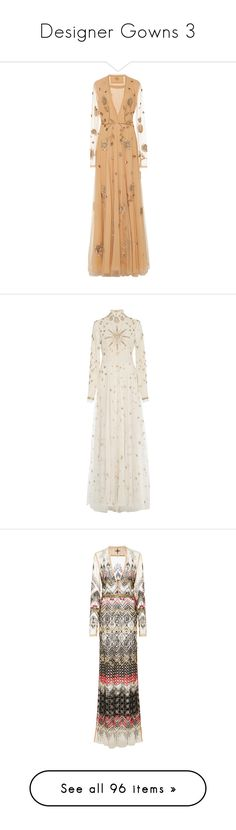"""Designer Gowns 3"" by mickeysmit ❤ liked on Polyvore featuring dresses, gowns, cucculelli shaheen, neutral, fringe gown, flower gown, beaded evening dress, beaded gown, embroidery dress and white"
