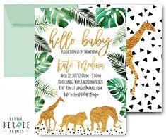 JUNGLE baby shower invitation WILD Animal baby shower invitation Lion Giraffe Elephant baby shower invitation Gold Animals Gold Black White by littlebirdieprints on Etsy https://www.etsy.com/listing/524210383/jungle-baby-shower-invitation-wild