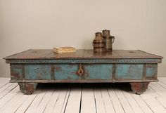 Massive Reclaimed Salvaged Antique Indian Blue Wedding Trunk Coffee Table…