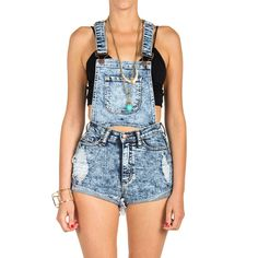 Two in One Overall Shorts ($44) ❤ liked on Polyvore featuring jumpsuits, rompers, overalls, shorts, bottoms, shorts overalls, blue bib overalls, overall, acid wash overalls and short overalls