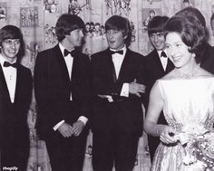 1964, July 6, The Beatles and Princess Margaret at the Royal World Premiere of A Hard Day's Night.