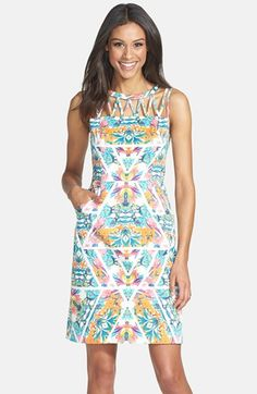 Adrianna Papell Caged Yoke Floral Print Sheath Dress at Nordstrom