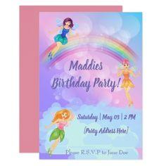 Fairy Rainbow Birthday Invitations - invitations personalize custom special event invitation idea style party card cards