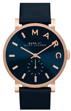 1cbc3b085cd Marc by Marc Jacobs Womens Baker Navy Leather Strap Watch - Womens Watches  - Jewelry Watches - Macys