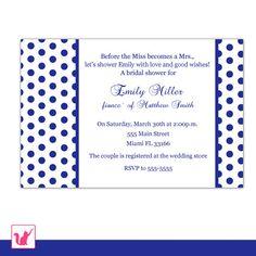 Printable Personalized Navy Blue Polka Dots Bridal Shower Invitation - Wedding Anniversary Engagement Birthday 21st 30th 40th 50th 60th