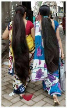 Long hair girls walking on market