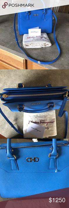 Salvatore ferragamo purse Never worn, beautiful condition classic calf skin Salvatore Ferragamo Beky bag in blue. Made in Italy 100% authentic. Salvatore Ferragamo Bags Crossbody Bags
