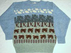 Moffat Woollens Scotland Longhorn Cattle with Trees on Blue Wool Sweater