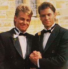 Jason and Guy in Neighbours on Scott's wedding day to Charlene, I remember this photo from the Neighbors sticker album ♥️♥️♥️♥️♥️ Australian Actors, It's Wonderful, Kylie Minogue, 1980s, The Past, Sticker, Memories, Album, Guys