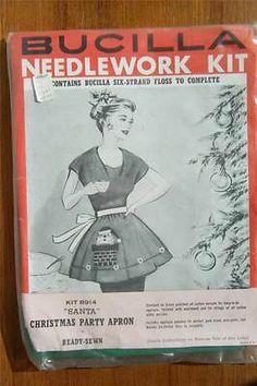 Vtg 60's Old Stock NEW! Bucilla Needlework Kit #8914 Santa Christmas Party Apron