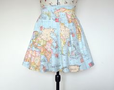 This is a MADE TO ORDER ITEM - the production time for each skirt is 7 working days. This retro world map print cotton skirt is perfect for