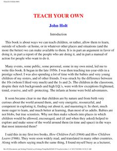 A very good book on Home schooling Teach your own by John Holt Education In South Africa, John Holt, Classical Education, Home Schooling, Teaching Kids, Good Books, This Book, Pdf, Learning