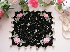 Rose Crochet Doily, Cottage Chic, Beaded