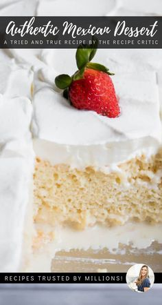 This easy to make tender cake is drenched in a three milk mixt. This easy to make tender cake is drenched in a three milk mixture, topped with fl - Authentic Mexican Recipes, Mexican Food Recipes, Tres Leches Cake Recipe Authentic, Tres Leches Recipe, 3 Milk Cake, Three Milk Cake, Mexican Dessert Easy, Mexican Cakes, Desserts To Make