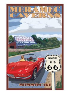 Meramec Caverns, Missouri - Route 66 and Barn Print by Lantern Press at Art.com