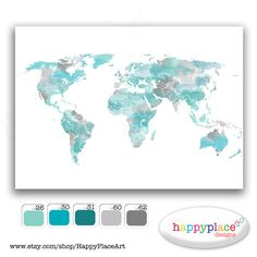 Large Travel World Map Options - Printable Map with Watercolour Texture. Choice of colors, text, size. Great for travel map or heart map.
