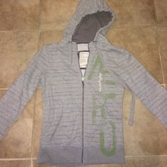 Aeropostale Zip Up Really cute and soft Aeropostale Medium Zip Up Hoodie. Light gray with AERO written in green and eighty seven written in small letters as the design on the hoodie. Aeropostale Tops Sweatshirts & Hoodies