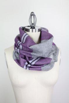 purple gray stripe acrylic infinity scarf chunky by gertiebaxter, $28.50